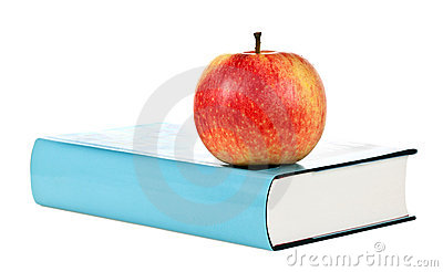 Single book with apple