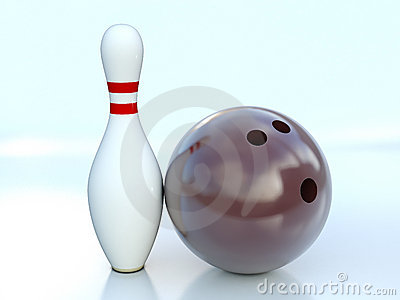 Single bowling pin and bowling ball