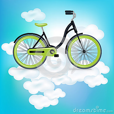 Single bycicle riding on clouds