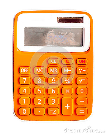 The single calculator on whit isolate background.