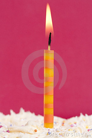 Free Single Candle On A Cake Royalty Free Stock Photo - 18532365