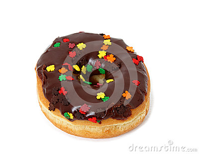 Single Chocolate Frosted Donut With Sprinkles On White ...