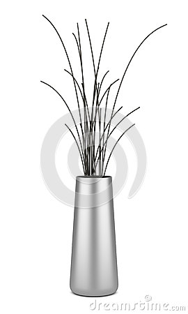 Single chrome vase with dry wood isolated on white