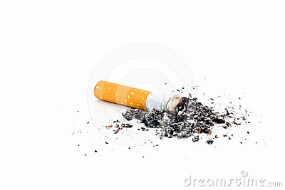 Single cigarette with ash
