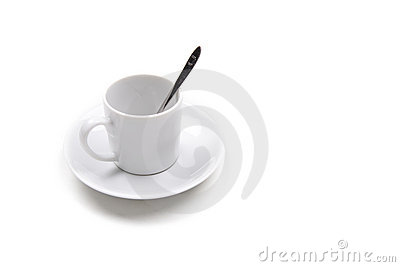 Single coffee cup isolated on white background