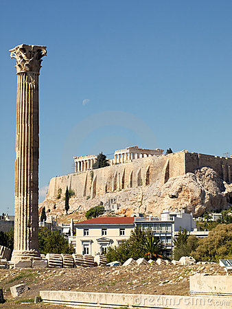 Single column of Zeus temple, and Parthenon