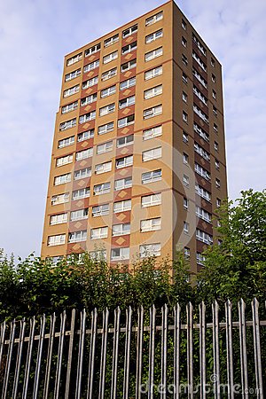 Single council tower block with Fence