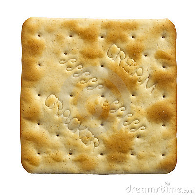 single cream cracker biscuit on white background
