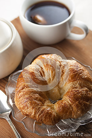 Single Croissant with Tea