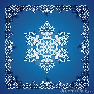 Single detailed snowflake with Christmas border