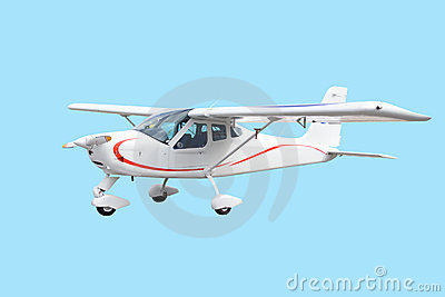 Single engine small white airplane isolated