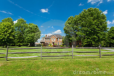 Single Family Georgian House Home Lawn Fence USA