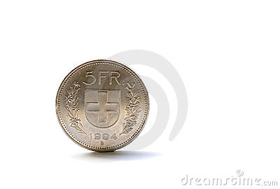 Single five Swiss franc coin