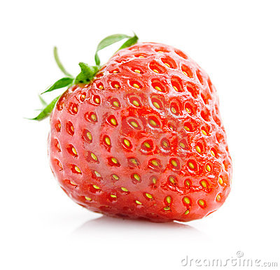 Free Single Fresh Red Strawberry Isolated On White Royalty Free Stock Image - 12750536