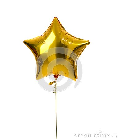 Free Single Gold Big Star Metallic Balloon Object For Birthday Royalty Free Stock Photography - 99980077