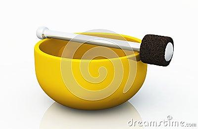 Single golden singing bowl on white 01