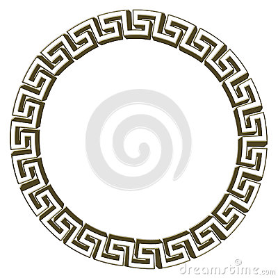 Single Greek Key Circle Gold Stock Illustration Image