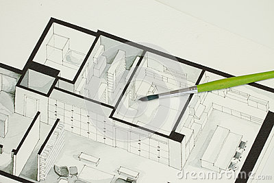 Single green brush set on real estate floor plan architectural isometric sketch sending a message for cold but elegant simplicity Stock Photo