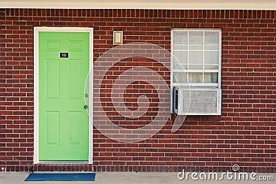 Single green door