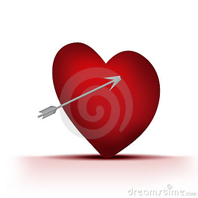 Single hearts with arrow