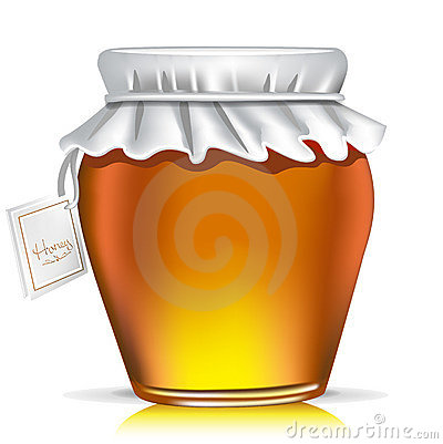 Single honey jar with tag