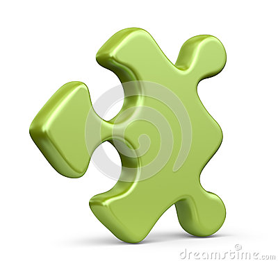 Single jigsaw puzzle piece. 3D Icon isolated