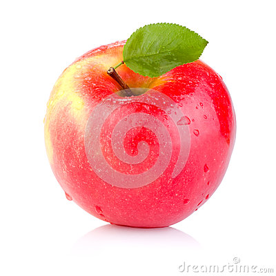 Free Single Juicy Red Apple With Leaves Stock Images - 29403714