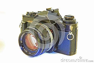 Single Lens Reflex Camera Isolated on White Backgr