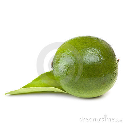 Single Lime with Leaf over White