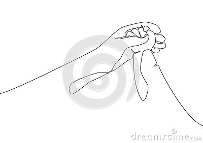 Single line draw of father giving hand to his child. Mother care in continuous line drawing design style Cartoon Illustration