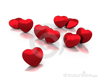 Single lonely heart in group of hearts