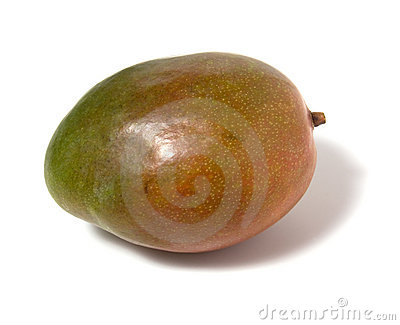 Single mango isolated on white background