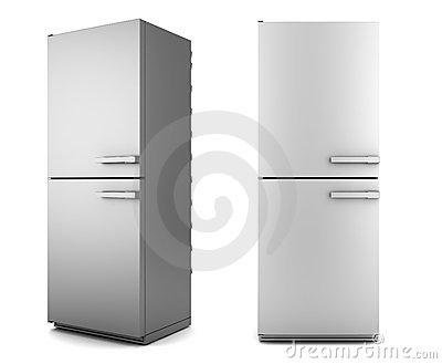 Single modern gray refrigerator isolated on white