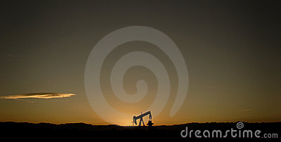 Single oil pump and sunset