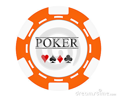 Single orange casino chip isolated on white