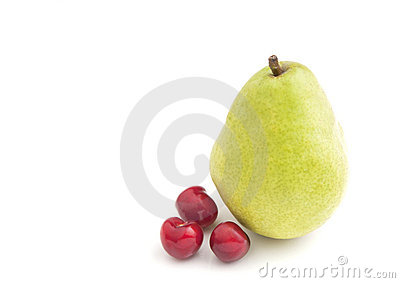 Single Pear and Cherries