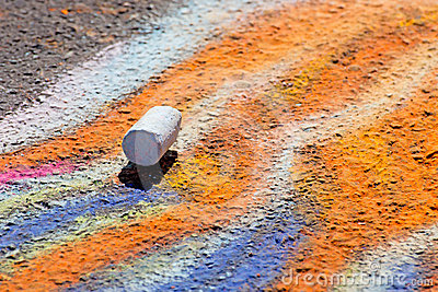Single Piece of Chalk on Sidewalk Art