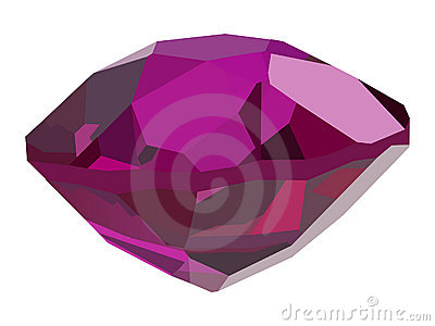 Single pink gem on white