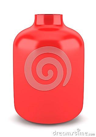 Single red ceramic vase isolated on white