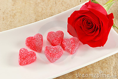 Single Red Rose with Five Candy Hearts