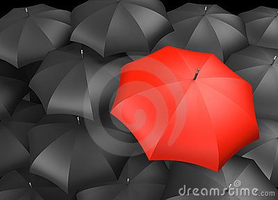 Single red umbrella with many black umbrellas
