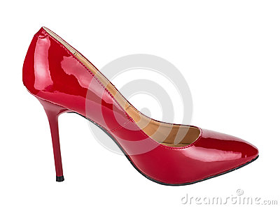 Single red woman shoe isolated on white