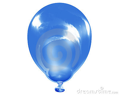 Single reflective blue balloon
