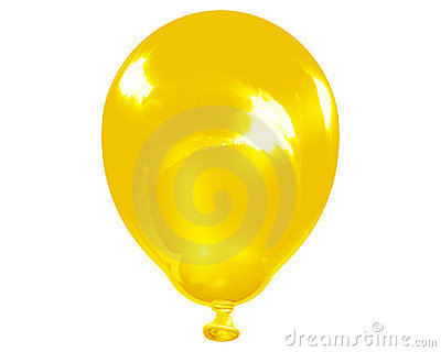 Single reflective yellow balloon