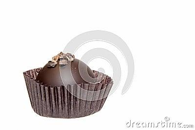 Single Round Dark Chocolate Isolated