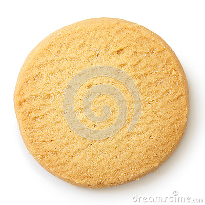 Free Single Round Shortbread Biscuit Isolated On White From Above. Stock Images - 58807224
