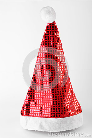 Single Santa Claus red hat isolated on white