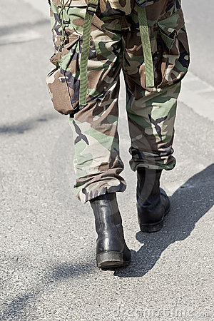 Single soldier walking