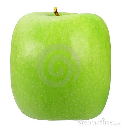 Single square green apple