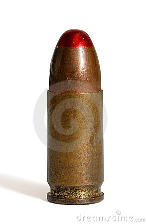 Single standing  tracer 9mm  cartridge isolated